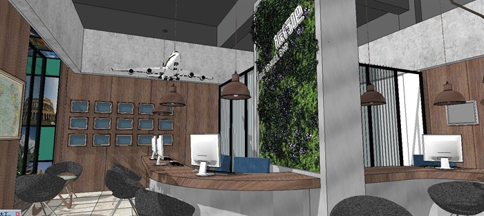 商业咨询招待社办公室内空间设计su模型