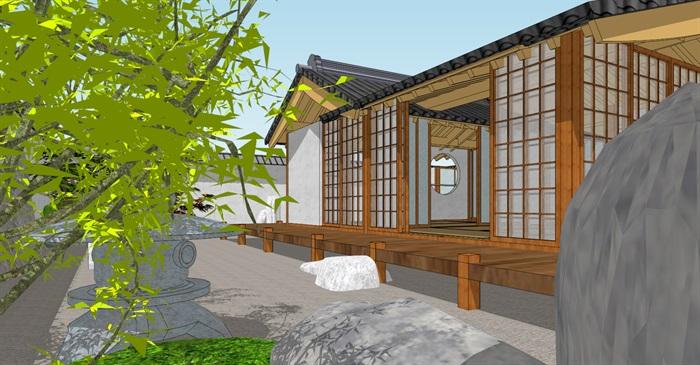 日本茶室小庭院景观设计su模型[原创]