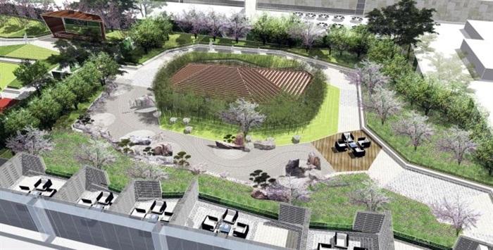 精品酒店屋顶公园景观设计su模型[原创]