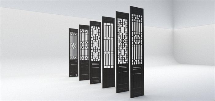 6款中式花窗详细设计su模型