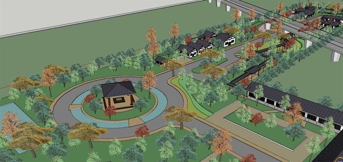 中式度假村景观及建筑设计su模型