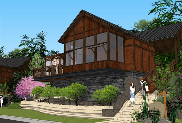 中式山地酒店民宿客栈建筑设计su模型[原创]图片