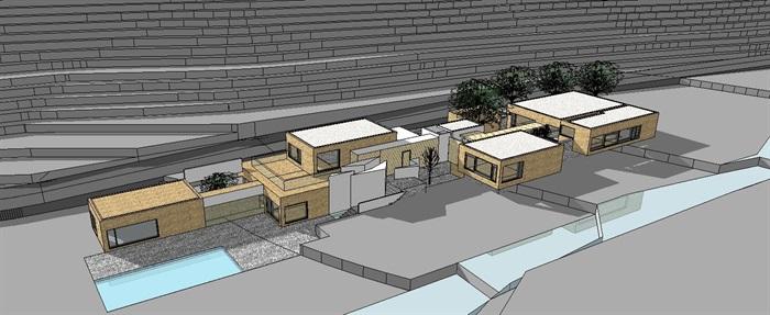 现代山地别墅详细建筑设计su模型