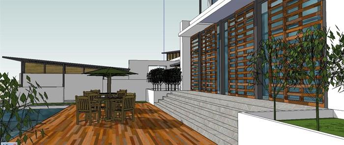 现代中式山地坡屋顶别墅设计su模型