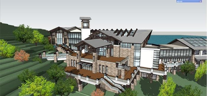 山地滨水精品酒店模型(13)
