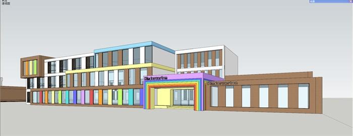现代彩色幼儿园详细建筑设计su模型