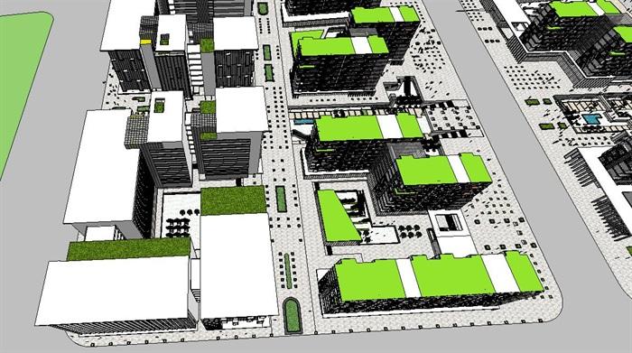 新型交流开放式住宅小区规划建筑su模型