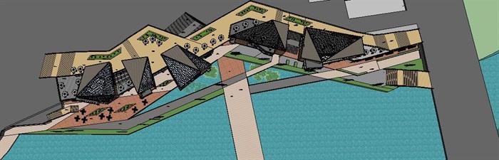 滨水现代中式精品商业街详细建筑设计su模型