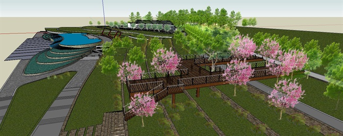 滨水带状坡地休闲公园景观长廊(3)