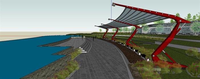 滨水带状坡地休闲公园景观长廊(5)