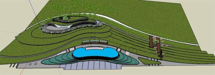 滨水带状坡地休闲公园景观长廊(6)