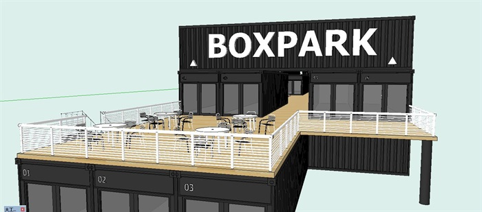 集装箱改造商业街建筑设计su模型