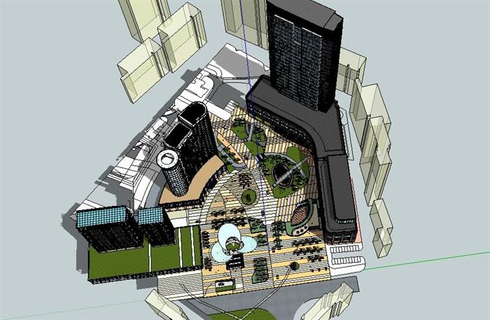现代精品商业广场商住楼设计su模型