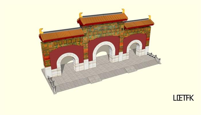 寺庙山门设计su模型
