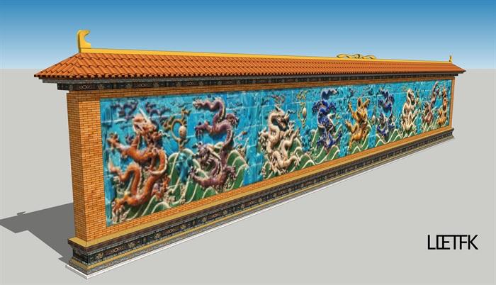 九龙壁景墙设计su模型