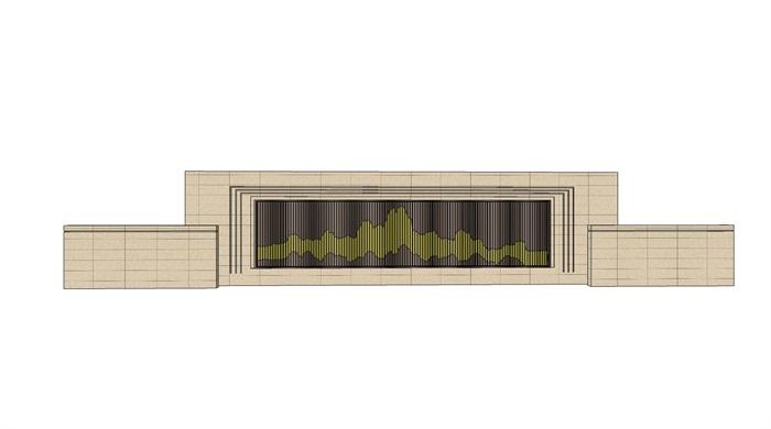 新中式新亚洲山水景墙多个设计su模型