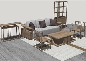 16套沙发茶几SU家具模型