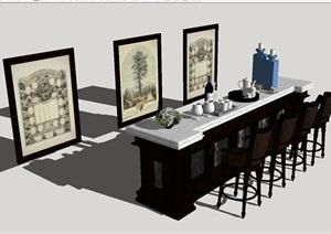 6套吧台与吧椅SU模型
