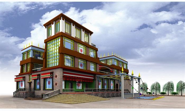 藏族土库房风格别墅设计jpg效果图[原创]图片