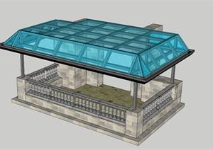 两个阳光遮雨棚SU(草图大师)模型