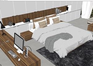 现代简约大卧室装潢设计SU(草图大师)模型