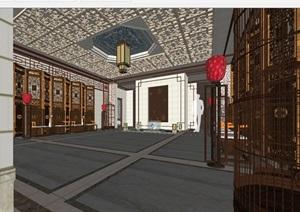 现代中式会所大堂室内装潢方案SU模型