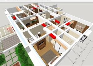 现代风格家具展示中心装潢方案SU(草图大师)模型
