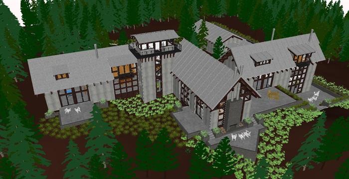 现代中式森林别墅度假庄园建筑与室内方案su模型[原创]