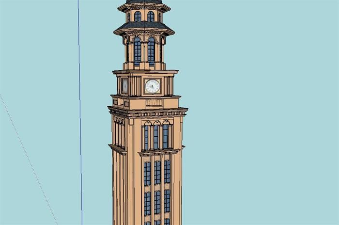 欧式钟楼塔设计su模型[原创]