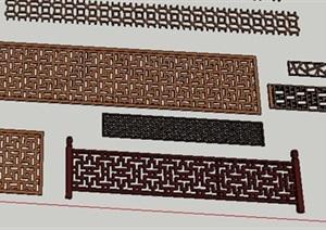 中式镂空立体雕花门窗设计SU(草图大师)模型