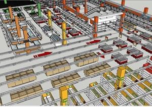 大型购物中心超市内部设计SU(草图大师)模型