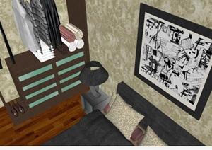 北美风格四房两厅室内户型家装方案SU(草图大师)模型