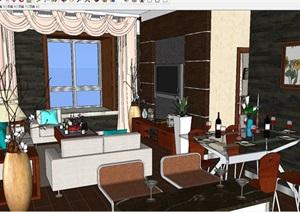 现代风格小三房二厅室内户型装潢方案SU(草图大师)模型