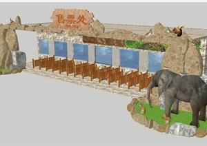 现代风格动物园售票处SU(草图大师)模型