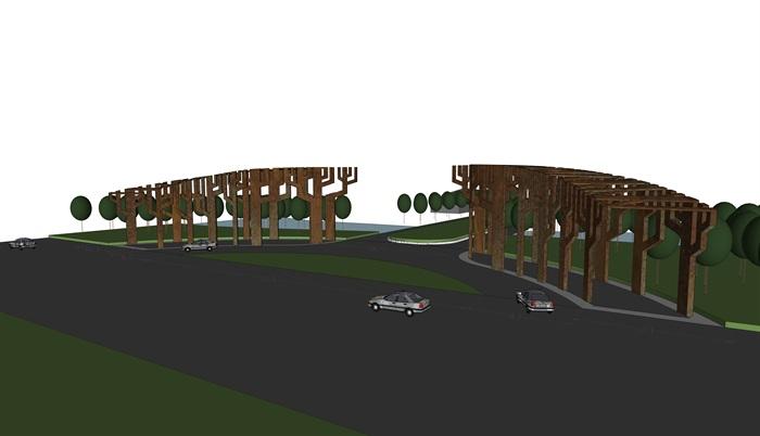 42款美丽乡村入口标识、景观构建、景区大门su模型
