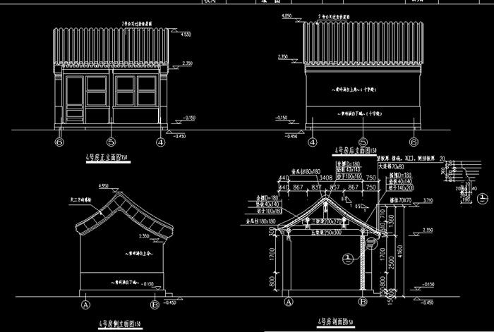 四合院民居住宅建筑设计cad施工图纸[原创]