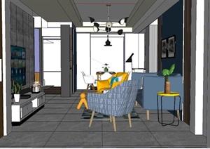 英伦皇都住宅室内空间设计SU(草图大师)模型