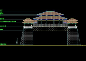 古典中式城门建筑设计cad方案图