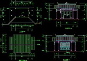 中式民居门厅建筑设计cad方案