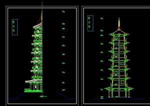 砖混结构古塔建筑cad方案