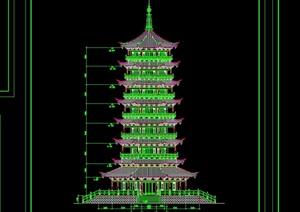 杉湖岛七层塔全套建筑cad施工图