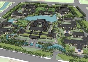 中式旅游度假酒店区建筑设计SU(草图大师)模型