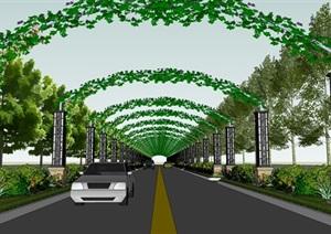 某现代风格详细道路设计SU(草图大师)模型