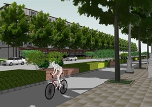 道路36米详细景观设计SU(草图大师)模型