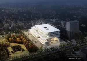 图书馆详细建筑设计cad方案及效果图