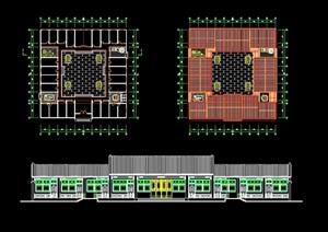 中式四合院办公建筑cad方案