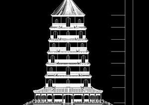 景观塔设计立面图与剖面图