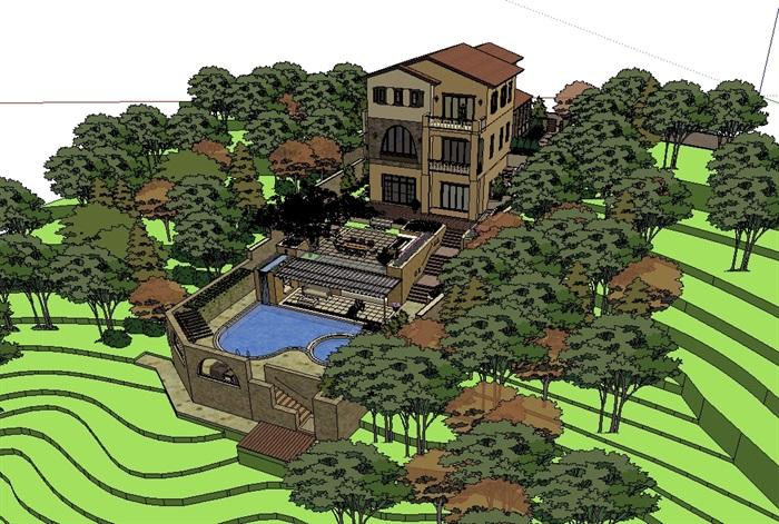 某欧式详细的别墅建筑及庭院景观设计su模型[原创]