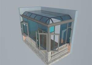 某地玻璃阳光房设计SU(草图大师)模型