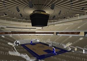 篮球馆室内空间设计SU(草图大师)模型